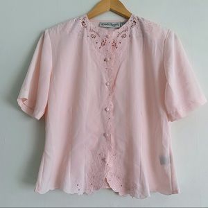 Vintage Claudia Richards Embroidered Button Up Top
